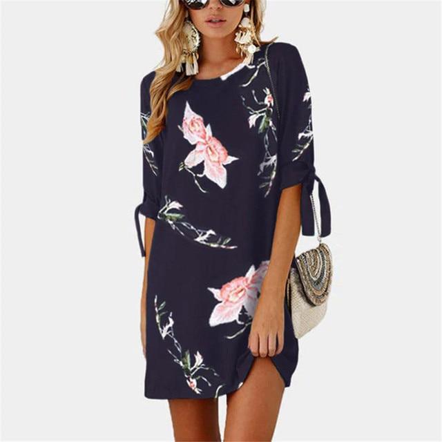 Meitawilltion 5XL Plus Size Chiffon Dresses 2018 Casual Bow Half Sleeve Floral Print Beach Dress Sexy Mini Party Dress Vestidos  4