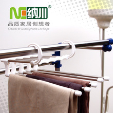 For folding hanger stainless steel retractable rack high quality wardrobe multi-layer pants clip
