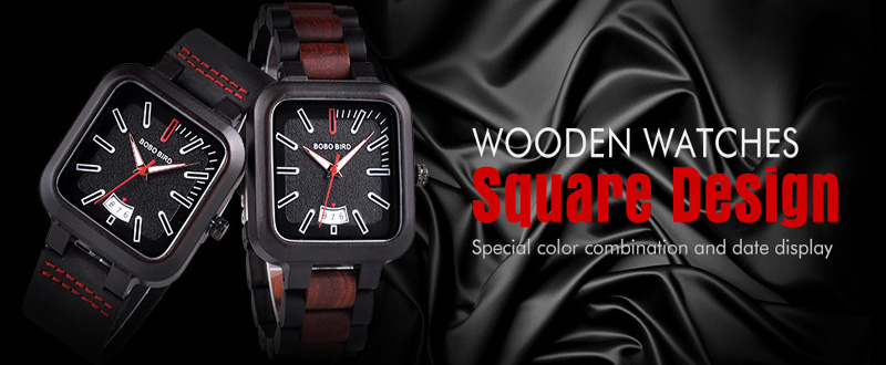 BOBO BIRD Square Design Stylish Wooden Watch For Men With Box 9
