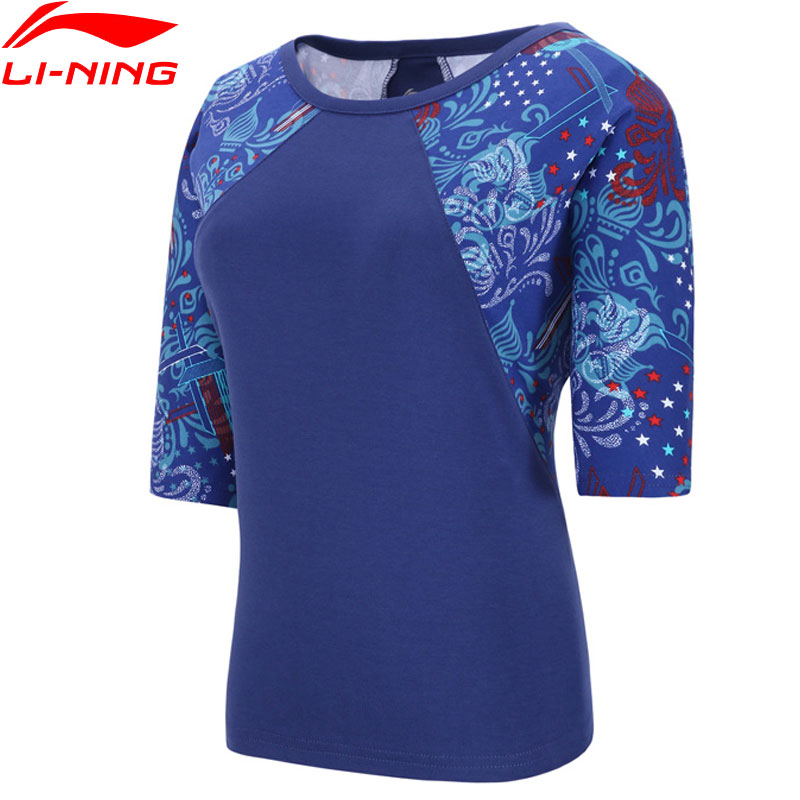 Li-Ning Women The Trend T-Shirt 100% Cotton Loose Fit LiNing Breathable Raglan Sleeves Li Ning Sports Tee Tops AHSN096 WTS1487