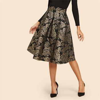 Falda midi jacquard cintura media flores doradas vintage