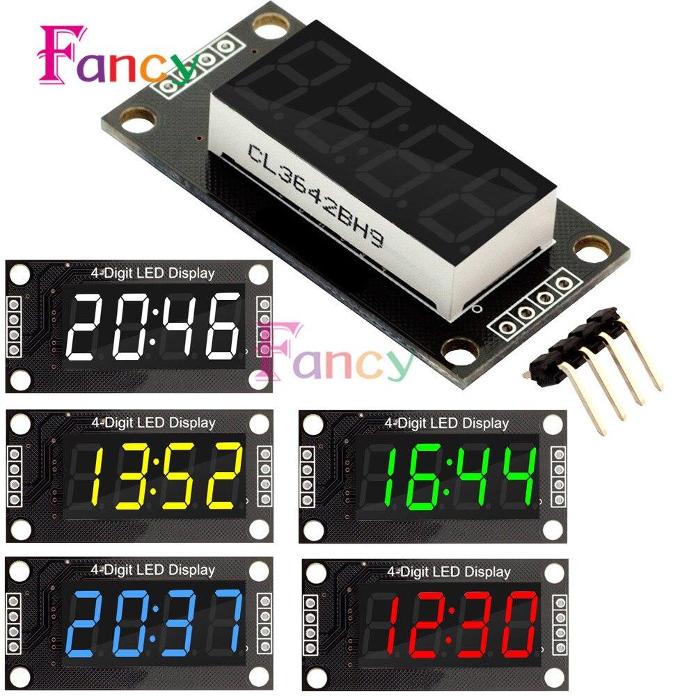 4-разрядный светодиодный 0,36 7 сегментов Дисплей трубки TM1637 времени часы Двухместный точек модуль размер 30x14 мм 0,36 дюймов для Arduino 5 цветов