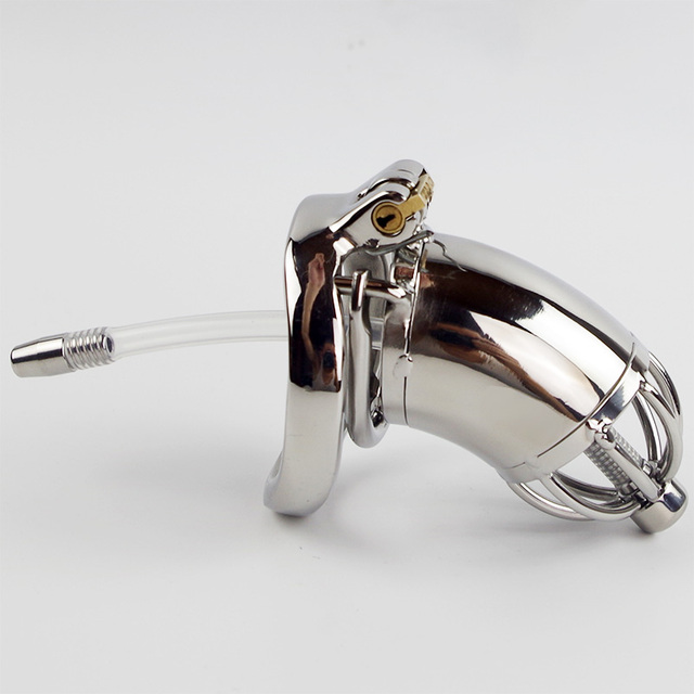 Anti Off Spiked Ring With Catheter Chastity Belt Device Stainless Steel Metal Penis Lock Chastity Urethral
