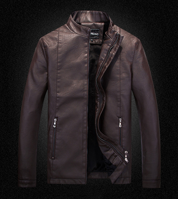 leather jacket men winter fur mens motorcycle jackets 2017 new china man stand collar zipper fishion coats size M-XXXL NSWT210