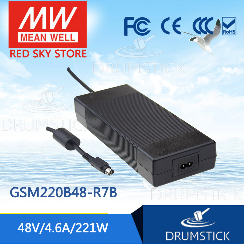 Genuine MEAN WELL GSM220B48-R7B 48V 4.6A meanwell GSM220B 48V 221W AC-DC High Reliability Medical Adaptor 1mean well original gsm160a24 r7b 24v 6 67a meanwell gsm160a 24v 160w ac dc high reliability medical adaptor