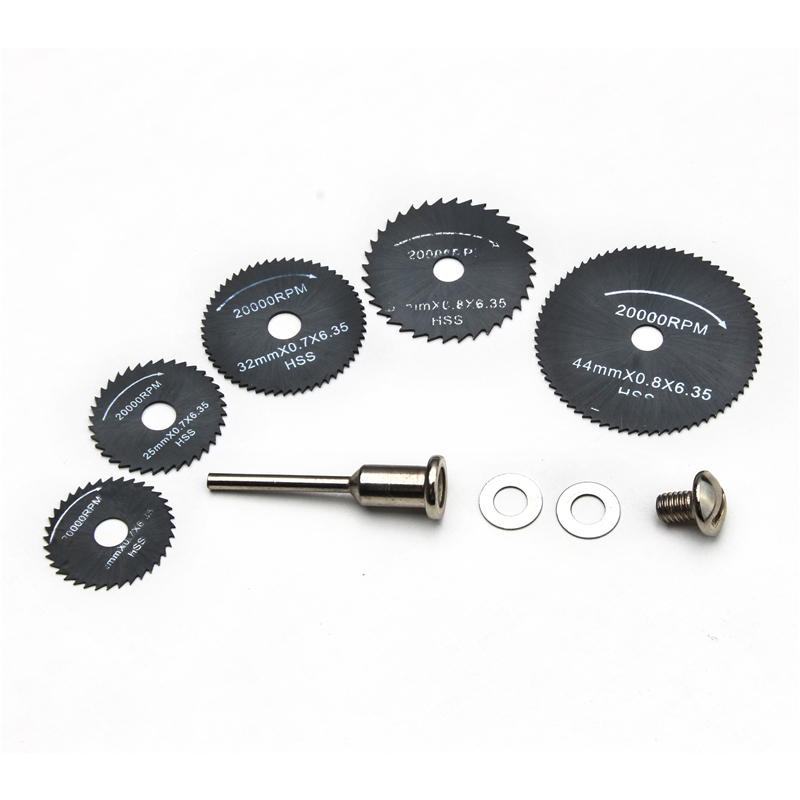 6PCS HSS Rotary Tool 22/25/32/44/50mm Circular Saw Blades Tool Cutting Discs Drill Mandrel For Wood Cutting Dremel Cutoff Kit