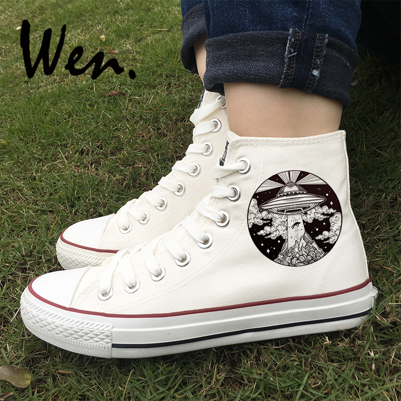 2211605a2a0 Detail Feedback Questions about Wen High Top Original Sneakers UFO Flying  Saucer Alien Lighthouse Designs White Black Athletic Shoes Boy Girl Canvas  Shoes ...