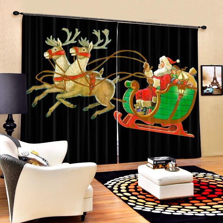 Santa Claus Sleigh 3d Digital Printing Stereo Cutoff Curtains High Precision Black Silk Door curtain