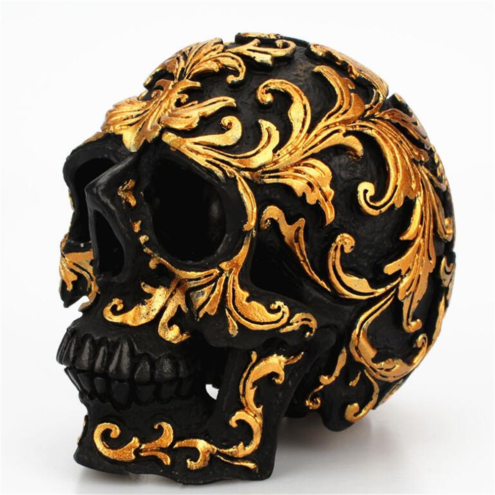 US $9.9 9% OFFSmall size Creative rose gold floral pattern skull  ornaments Halloween party home decorations Art statue 91 9Statues &