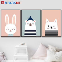 AFFLATUS Rabbit Bear Cat Nordic Poster Wall Art Canvas Painting Posters And Prints Cartoon Animals Pictures Kids Room Decor