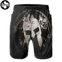 SAMCUSTOM mens perspiration quick dry ultra light breathable Personalized creative 3D Spartan mask Flat Brim beach shorts