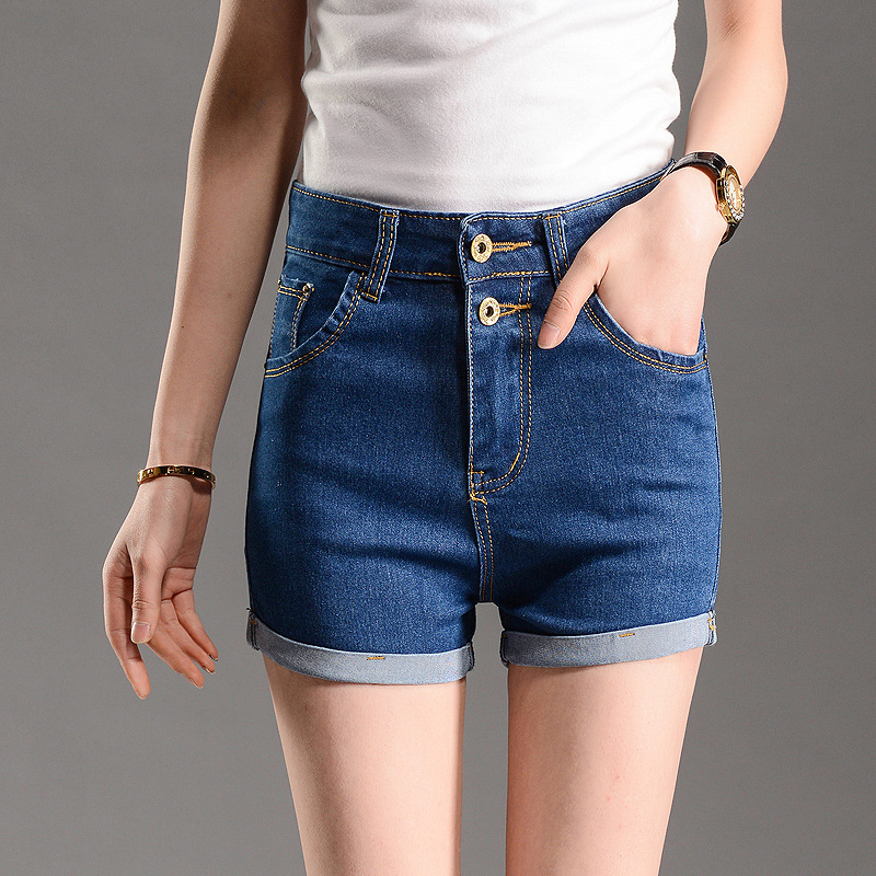 New 2016 Summer Blue high waist Short Jeans curling blue jeans roll-up shorts women Plus size Breasted Lady Denim shorts Z2086