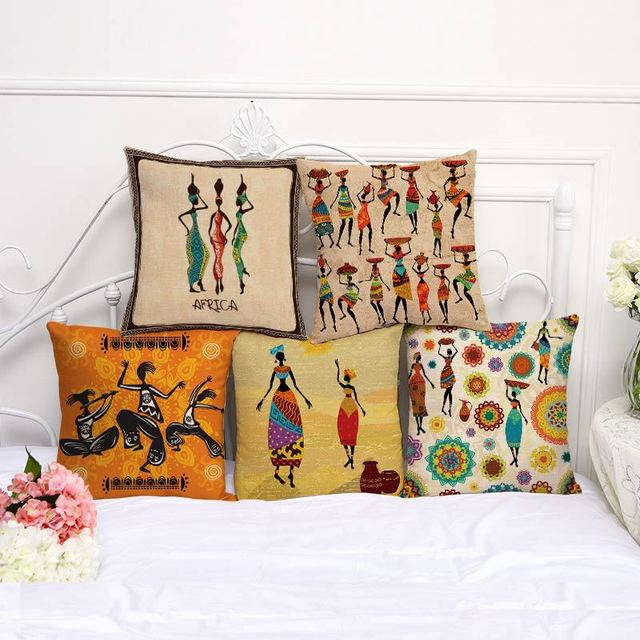 Hot Sale African Tribal Culture Cushion Cover Cotton Linen Africa