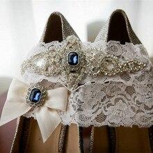 Свадебный набор подвязок для невесты, синяя лента с кристаллами стразами и бантом, белый кружевной набор подвязок