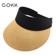 COKK Summer Hats For Women Folding Sun Visor Empty Top Outdoor Sea Beach Hat Chapeu Feminino Sun Hat Female Wide Brim Cap New