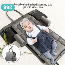 AAG Portable Bed In Bed Mummy Bag Multifunction Large Capacity Travel Bags Baby Bed Sleeping Bag Diaper Changing Stroller Bag 30