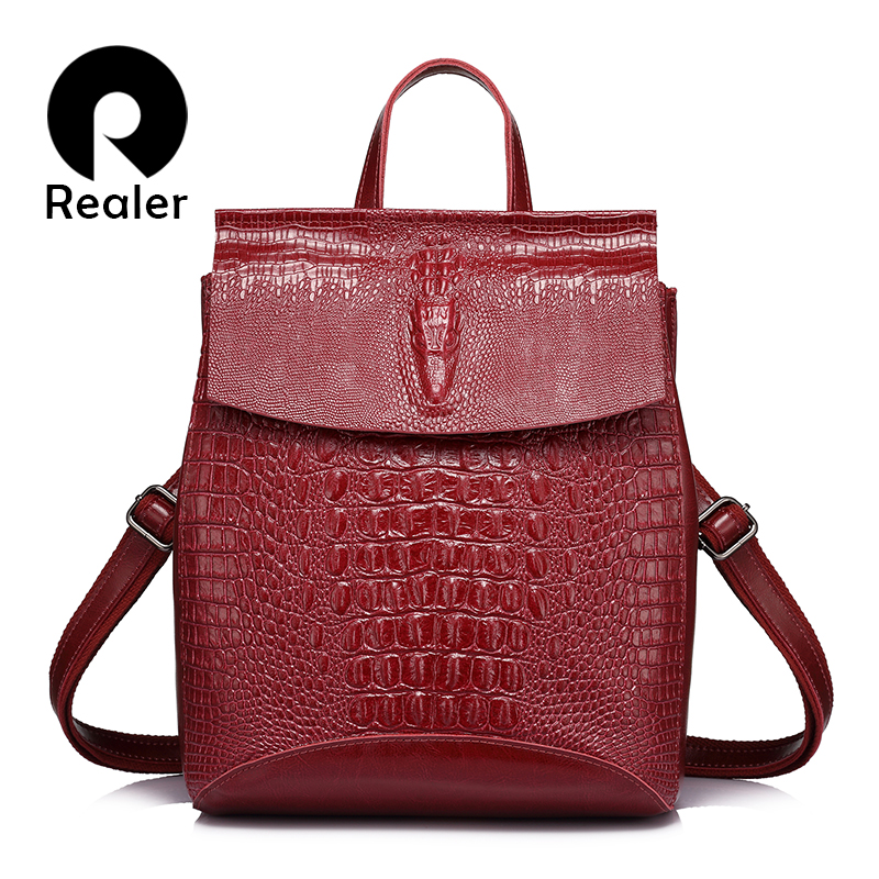 Realer Backpack Women Split Leather School Bags For Teenage Girls Travel Backpack Ladies Shoulder Bag Crocodile Prints Pink