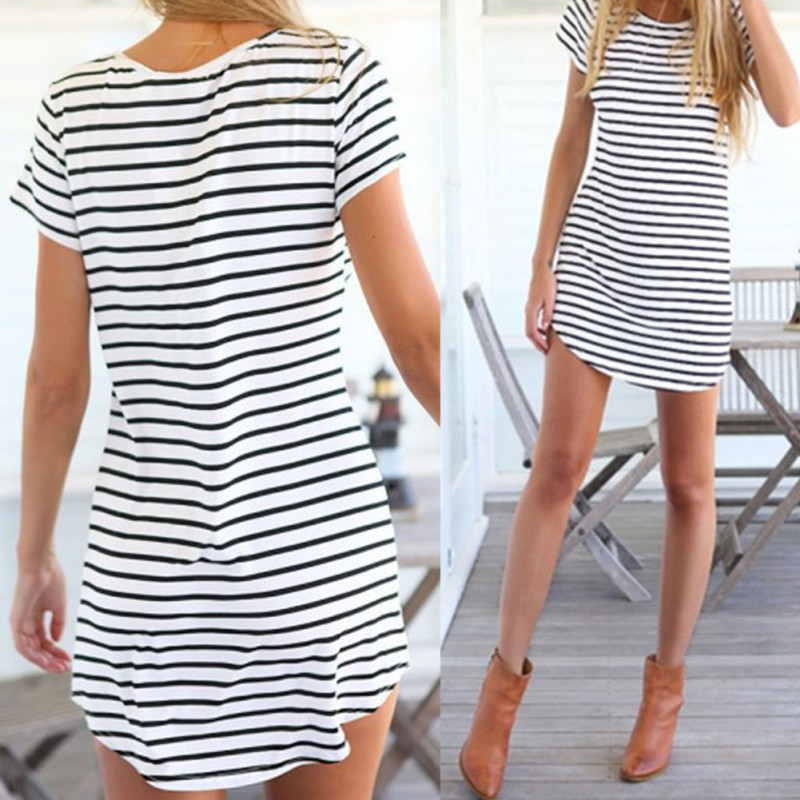 New Women Summer Beach Dress Party Short Sleeve Black   White Stripe Mini  Sundress-in Dresses from Women s Clothing on Aliexpress.com  78ca679e2