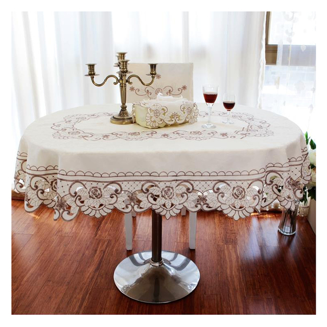 Europe garden table cover beige floral embroidered wedding table cloth rectangle/round/oval decorative tablecloths for kitchen & Europe garden table cover beige floral embroidered wedding table ...