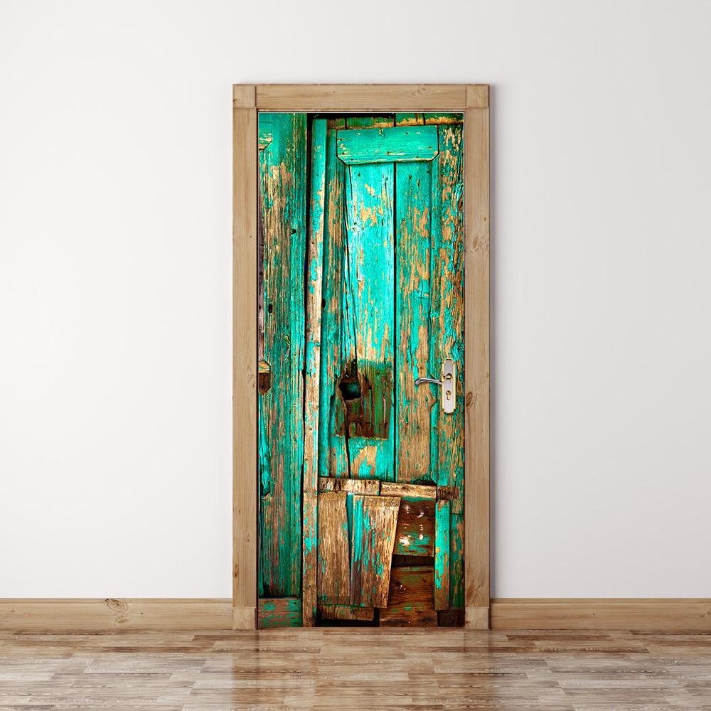 2 pcs/set Old Wooden Door Wall Stickers DIY Mural Bedroom ...