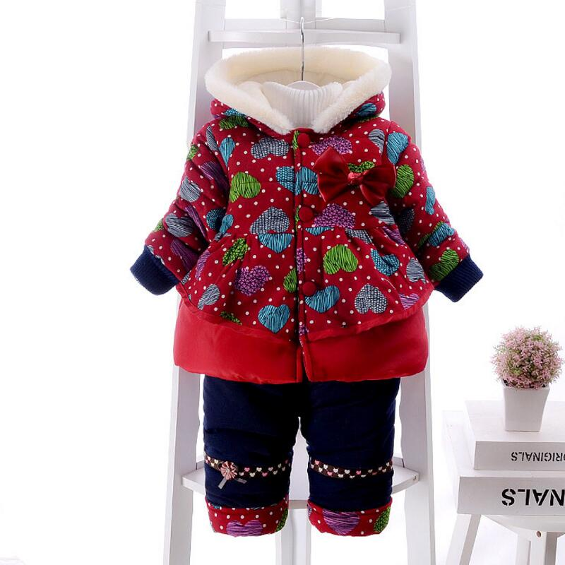 ФОТО ROMIRUS New Baby Girl Clothes Winter Cute Bow Suit Thick Warm Parkas Coat+Pants Two Piece Baby Clothes Sets Fleece Cotton-padded