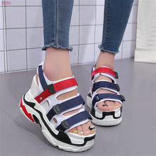 цены Women Wedges Platform Shoes Ankle Strap Super High Heel Roman Gladiator Sandals Summer Party Creeper Shoes Open Toe Punk Pumps