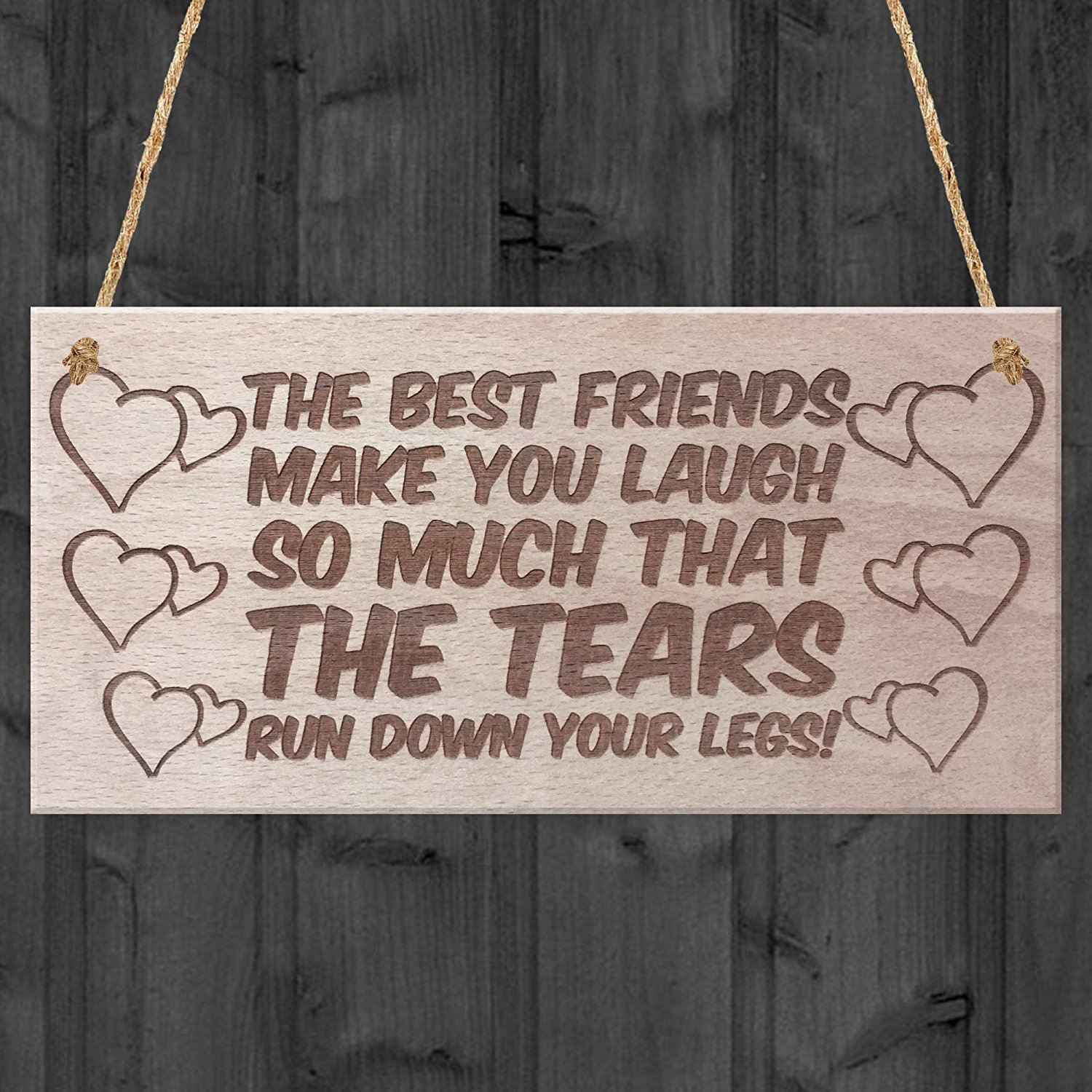 Best Friends Funny Poem Hanging Wooden Plaque Gift