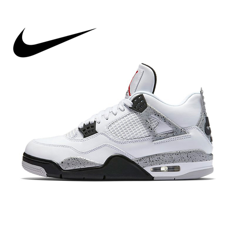 Original Authentic Nike Air Jordan 4 OG AJ4 White Cement Men's Basketball Shoes Sneakers Athletic Designer Footwear 2019 New