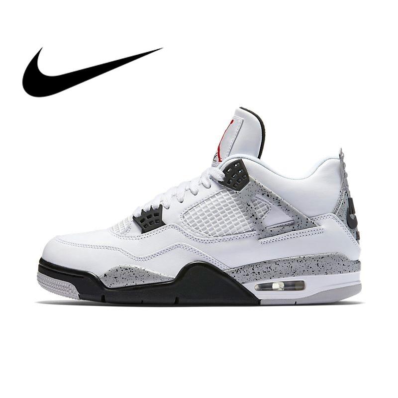 Original auténtico Nike Air Jordan 4 OG AJ4 cemento blanco zapatos de baloncesto de los hombres zapatillas de deporte deportivo calzado de diseñador 2019 nuevo