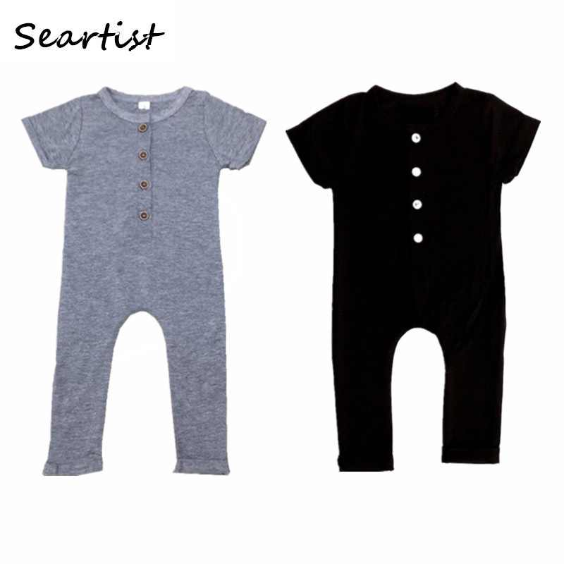Infant Newborn Baby Boys Girls Solid Color Pajamas Jumpsuit One Piece Sleeveless Button Rompers Outfits