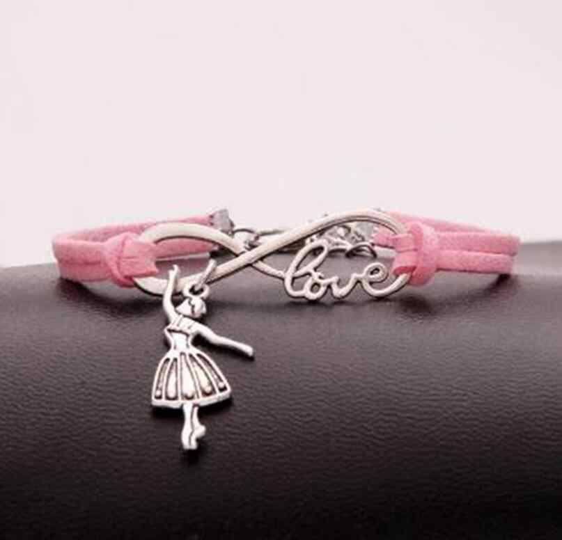 1pcs/lot Love lucky 8 Infinity Dancing/ballerina girl Bracelet Charm Pendant Women/ Men Simple Bracelets/Bangles