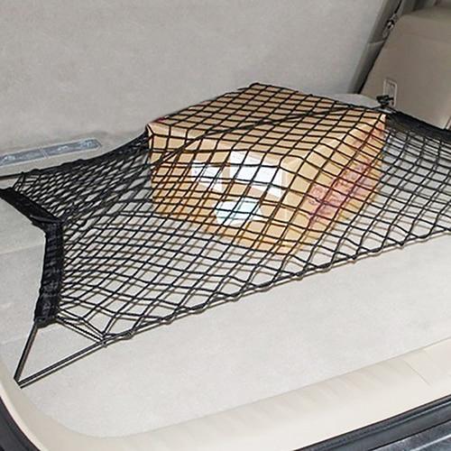 Car Trunk Box Rear Cargo Organizer Storage Elastic Mesh Net Holder with 4 Hooks Stowing Tidying