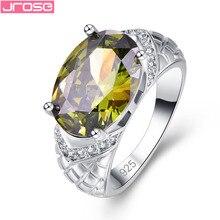 JROSE обручальное кольцо Овальной Огранки Перидот& Белый кубический цирконий Серебряное кольцо Размер 6 7 8 9 ювелирные изделия Великолепные Подарки