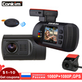 Conkim Dual Lens Macchina Fotografica Del Precipitare DVR GPS Anteriore 1080P FHD  Posteriore Della Macchina Fotografica 1080P FHD Parcheggio Guardia Auto Registrar Mini 0906 Dash Cam
