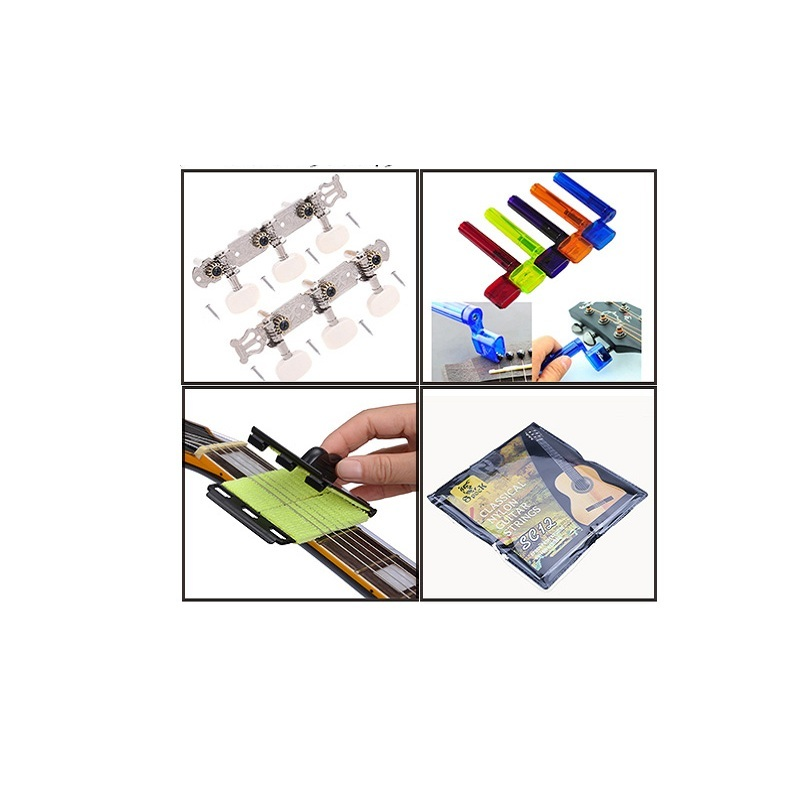 4in1 Guitar Kits Guitar Strings&winder Peg Bridge Pin Tool Multicolor&string Scrubber Fingerboard Cleaner&tuner Machine Heads To Rank First Among Similar Products Sports & Entertainment
