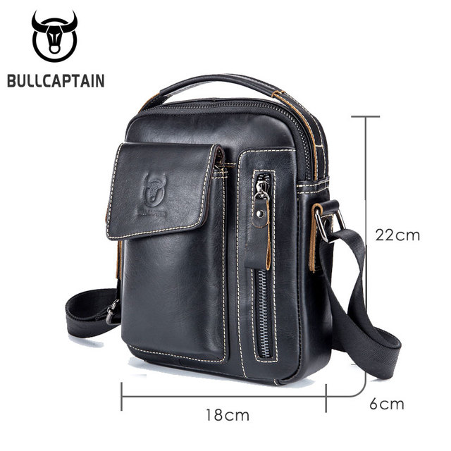 BULLCAPTAIN Genuine Leather Men Messenger Bag Casual Crossbody Bag Business Men's Handbag Bags for gift brand shoulder bag
