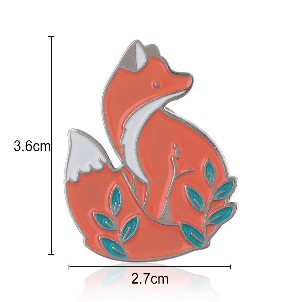 1 Pc Cute Cartoon Animal Fox Metallo Dello Smalto Spilla Denim Della Decorazione Del Collare Vestiti Spille Unisex Vestiti Distintivi e Simboli Gioelleria raffinata e alla moda Per Bambini Regali