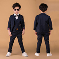 Свадебные костюмы для Мальчиков Вечернее платье Чистого хлопка Blazer Куртка наборы Дети Смокинг костюм 3 шт. комплект Одежды