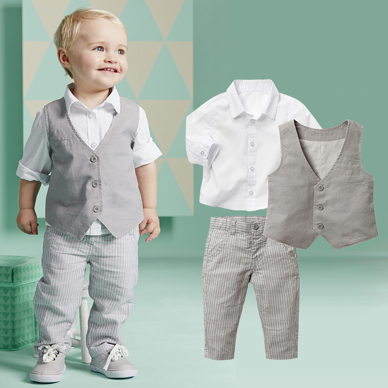 2015 Boys Clothing Sets Autumn Spring Shirt + Vest + Pants Boys Wedding Clothes Kids Gentleman Leisure Handsome Suit Free Ship 4pcs set boys clothing set gentleman kids plaid shirt with vest and bow and pants fashion wedding boys suit baby boys clothes