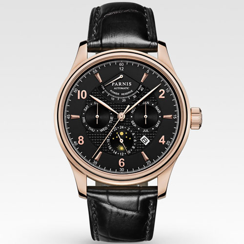 42mm parnis black dial Multifunction golden case Sapphire Glass 26 jewels miyota 9100 Automatic mens Watch 537 relogio masculino parnis black dial sapphire glass 26 jewels miyota automatic 9100 mens watch p664