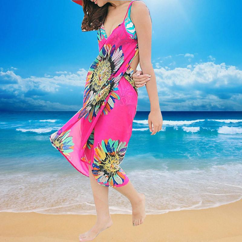 Women Beach Dress Swimwear Sexy Sling Beach Wear Dress Sarong Bikini Cover-ups Wrap Pareo Skirts Towel Flower Open-Back Swimsuit 6