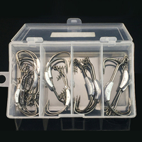 25 Pcs Box High Strength Lead Fishhooks Offset Fishing Hook With Soft Worm Spring Lock Pin