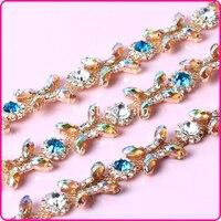 Wedding Bride Dress Decoration Colorful Crystal Rhinestone Glass Crystal Cup Chain Trimming