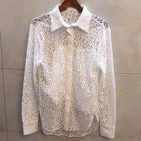 Кружевная блузка для женщин с длинным рукавом Блузка высокого качества Офисная Леди 2019 Новая женская элегантная однотонная блузка