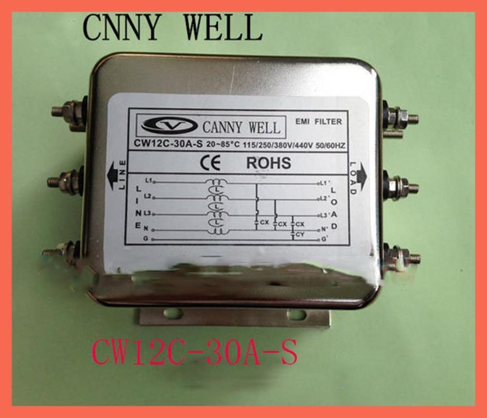 Трехфазный четырехпроводной фильтр EMI источник питания фильтр 380V 30A CW12C 30A S электрооборудование источники питания Адаптеры питания