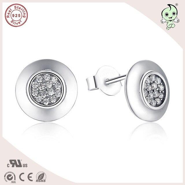 Высокое качество европейский классический круглой формы 100% S925 чистого серебра круглый серьгу