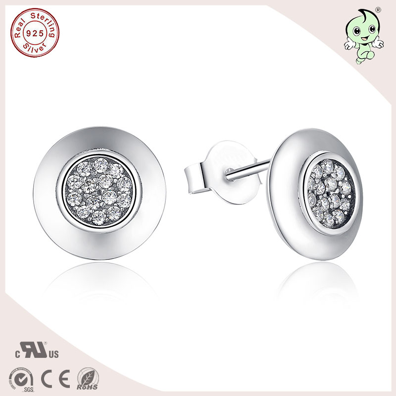 Good Quality European Classic Round Shape 100 S925 Pure Silver Round Stud Earring