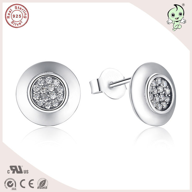 Good Quality European Classic Round Shape 100% S925 Pure Silver Round Stud Earring