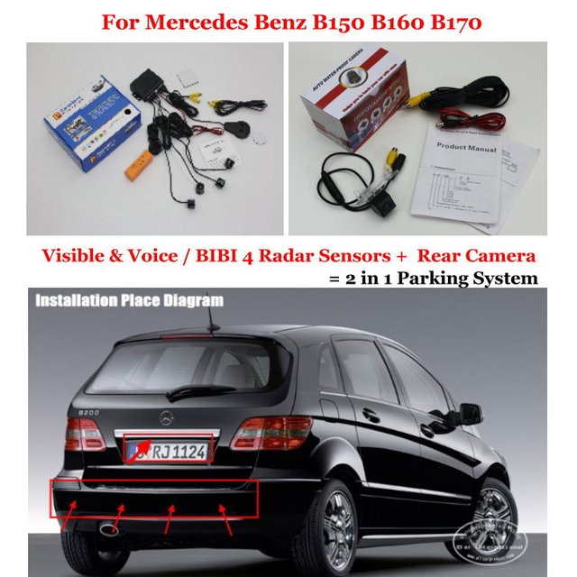 Car Parking Sensors + Rear View Back Up Camera = 2 in 1 Visual / BIBI Alarm Parking System For Mercedes Benz B150 B160 B170