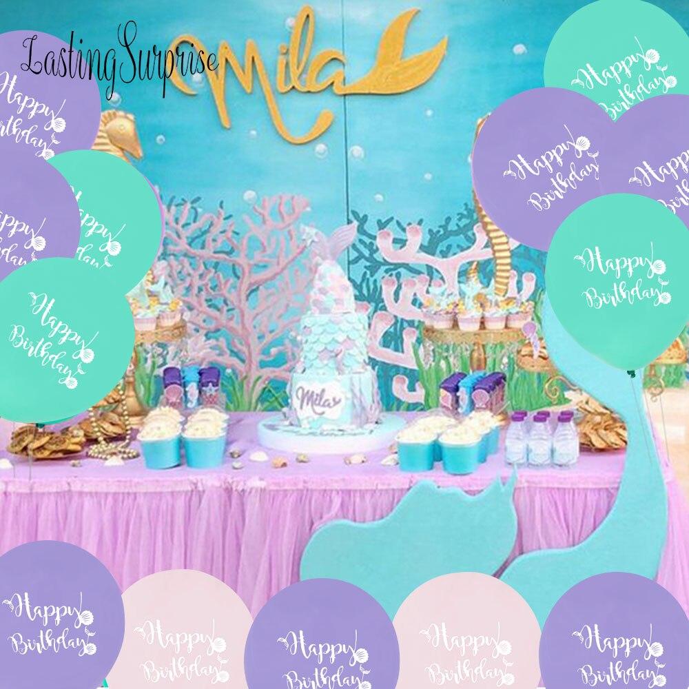 10 Piezas Globo Sirena Cumpleaños Globos Rosa Decoración Pequeña Sirena Fiesta Helio Globo Baby Shower Chica Babyshower Ballon